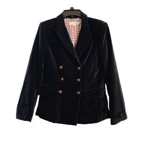 Boden Navy Velvet Double Breasted Blazer Coat